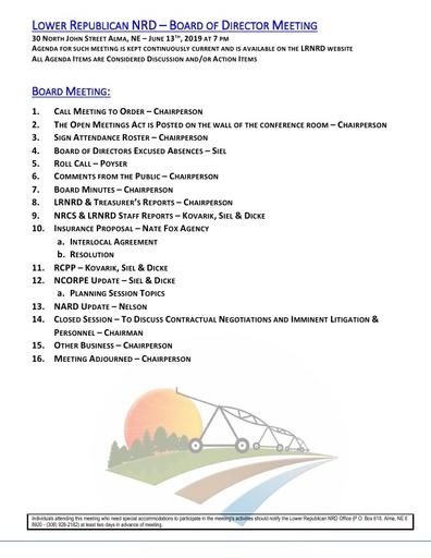 Agenda FY'19 6/13/19