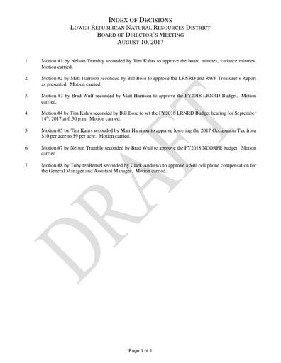 8-10-17 INDEX OF DECISION