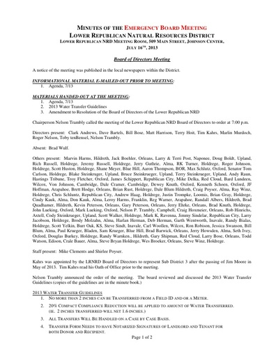 07-16-13 Minutes Emergency Meeting