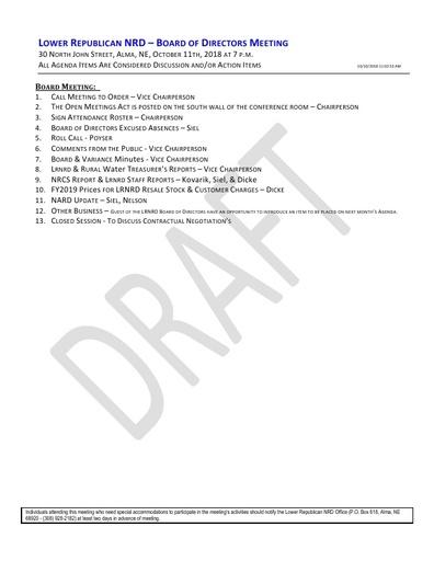 Agenda FY'19 10/11/2018